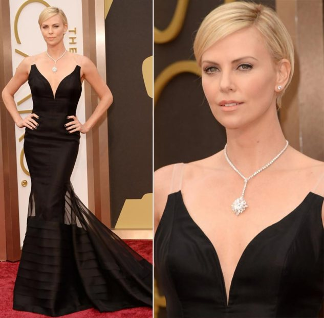 charlize-theron-oscars-2014-jewelry-hair-makeup